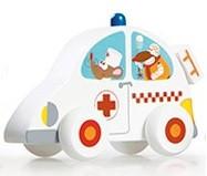 Dřevěné autíčko Scratch - sanitka