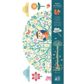 Samolepící dětský metr - Kvetoucí strom a lesní zvířátka