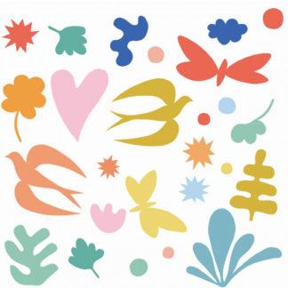 Samolepící dekorace na sklo - Ptáčci a motýlci
