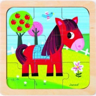 Koník na louce - dřevěné puzzle - 9 ks