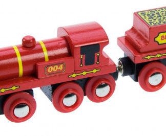 Bigjigs - Červená lokomotiva s tendrem