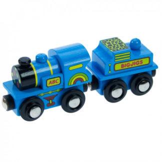 Bigjigs - Modrá mašinka s tendrem