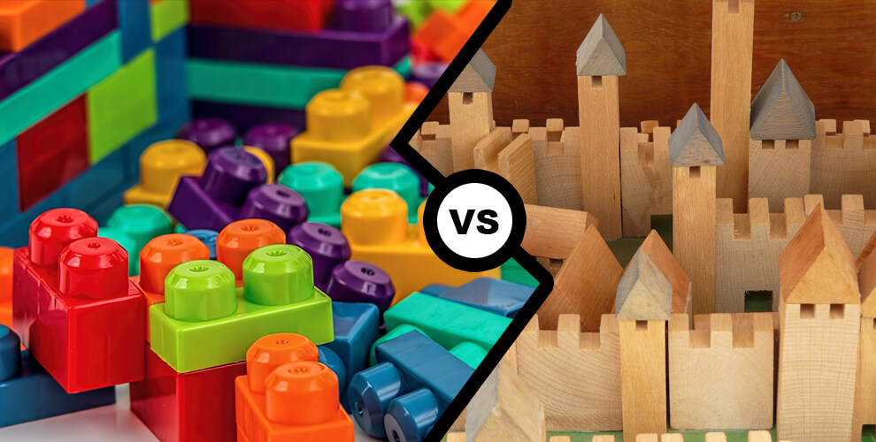 Porovnání dřevěných a plastových hraček