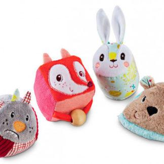 Lilliputiens - set 4 textilních tvarů - zvířátka z lesa
