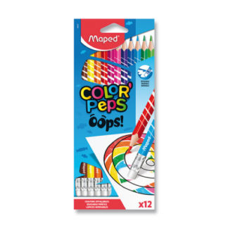 Pastelky s pryží Maped Color'Peps Oops - 12 barev