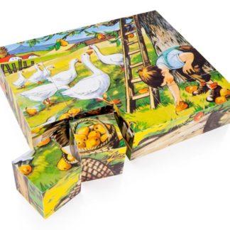 Dřevěné obrázkové kostky Na statku